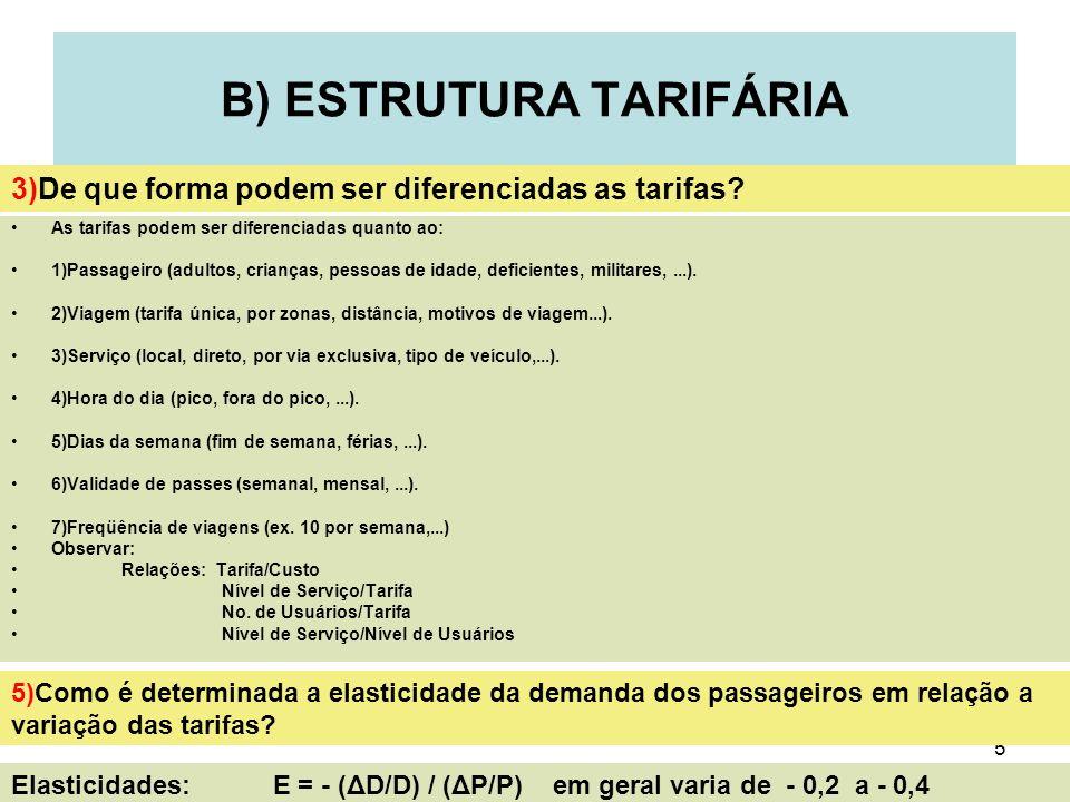 5 B) ESTRUTURA TARIFÁRIA As tarifas podem ser diferenciadas quanto ao: 1)Passageiro (adultos, crianças, pessoas de idade, deficientes, militares,...).