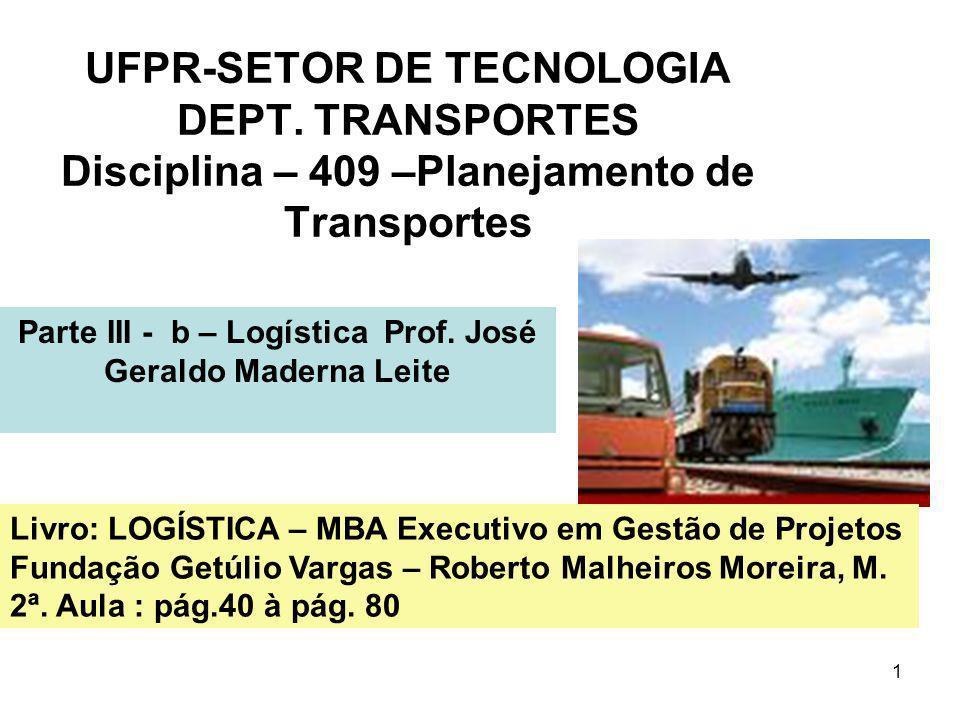 1 UFPR-SETOR DE TECNOLOGIA DEPT. TRANSPORTES Disciplina – 409 –Planejamento de Transportes Parte III - b – Logística Prof. José Geraldo Maderna Leite
