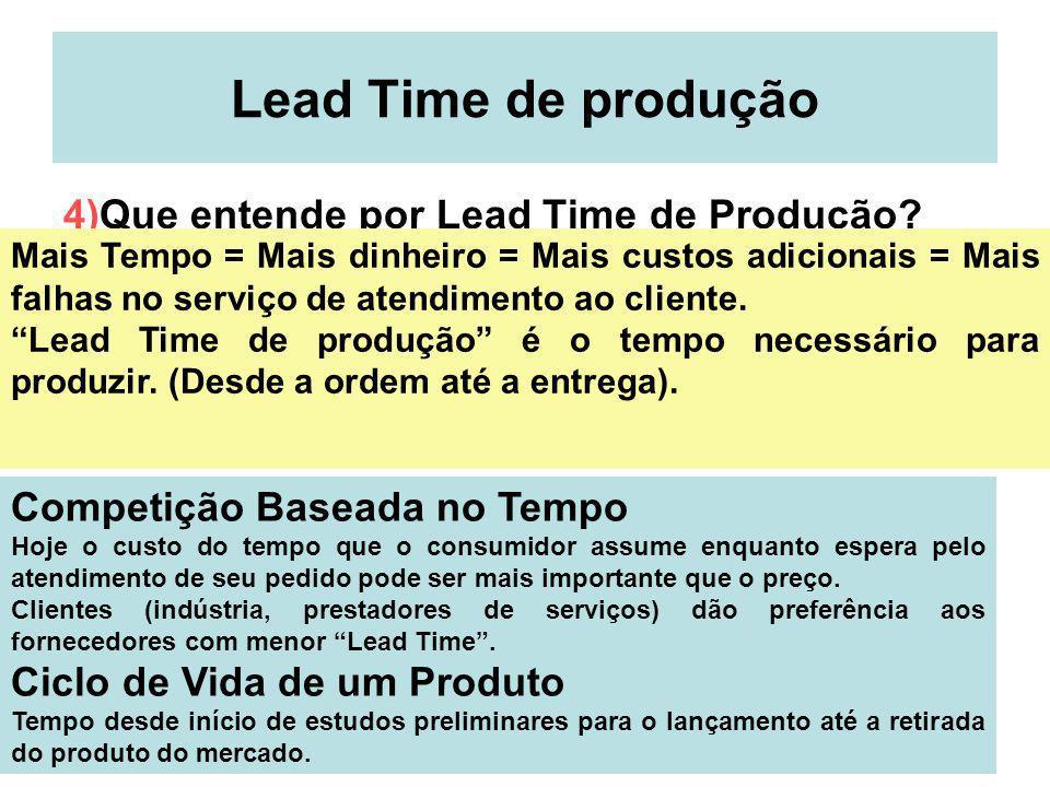 18 Lead Time de produção 4)Que entende por Lead Time de Produção? Mais Tempo = Mais dinheiro = Mais custos adicionais = Mais falhas no serviço de aten
