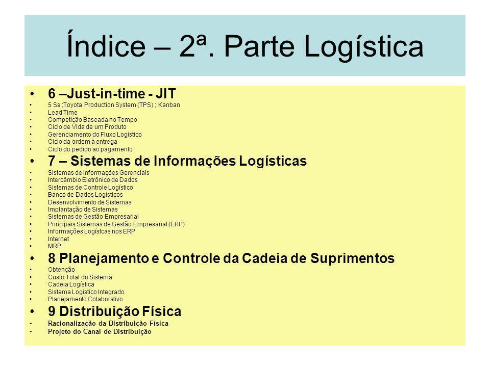 2 Índice – 2ª. Parte Logística 6 –Just-in-time - JIT 5 Ss ;Toyota Production System (TPS) ; Kanban Lead Time Competição Baseada no Tempo Ciclo de Vida