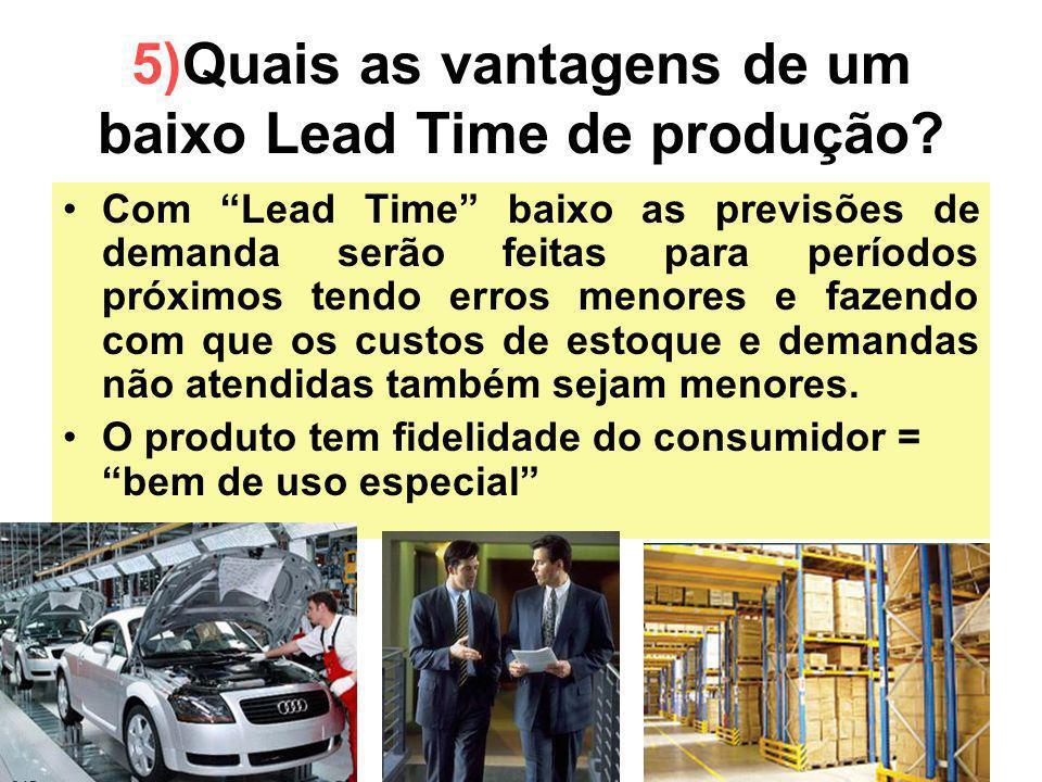 20 5)Quais as vantagens de um baixo Lead Time de produção? Com Lead Time baixo as previsões de demanda serão feitas para períodos próximos tendo erros