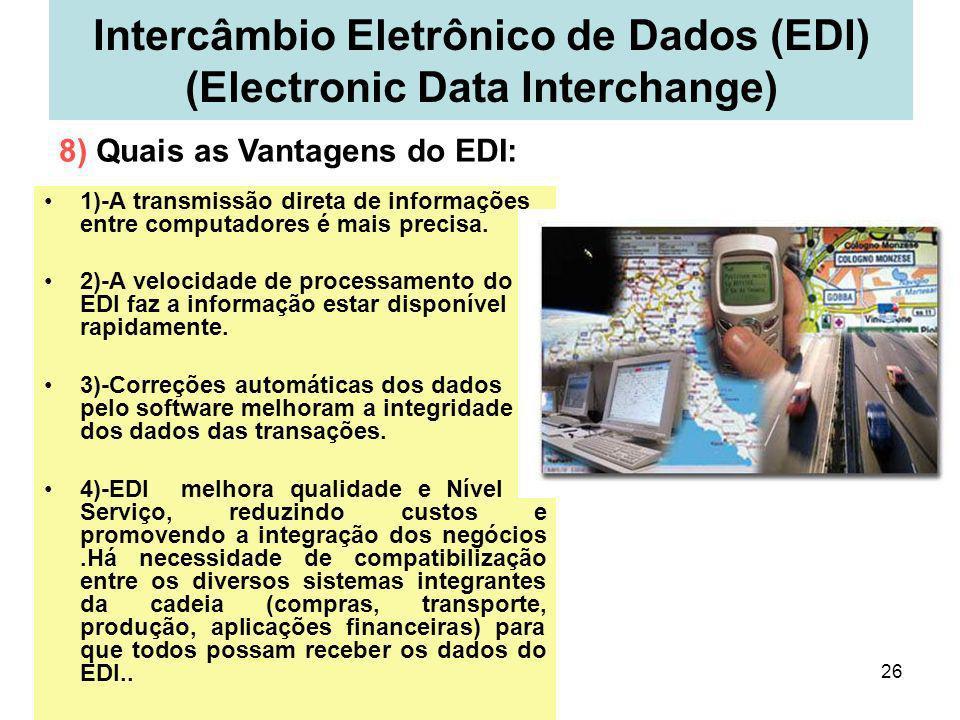 26 Intercâmbio Eletrônico de Dados (EDI) (Electronic Data Interchange) 1)-A transmissão direta de informações entre computadores é mais precisa. 2)-A