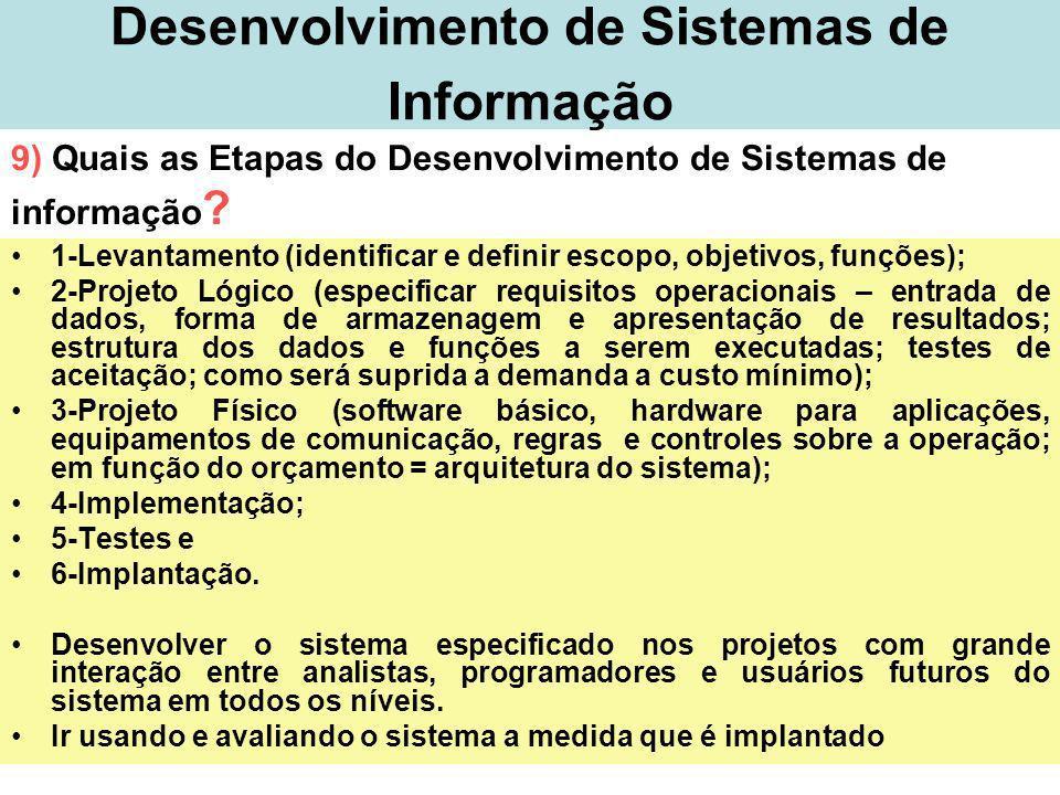 32 Desenvolvimento de Sistemas de Informação 1-Levantamento (identificar e definir escopo, objetivos, funções); 2-Projeto Lógico (especificar requisit