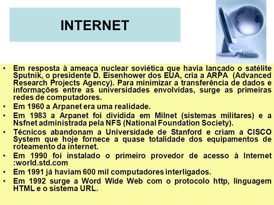 39 INTERNET Em resposta à ameaça nuclear soviética que havia lançado o satélite Sputnik, o presidente D. Eisenhower dos EUA, cria a ARPA (Advanced Res