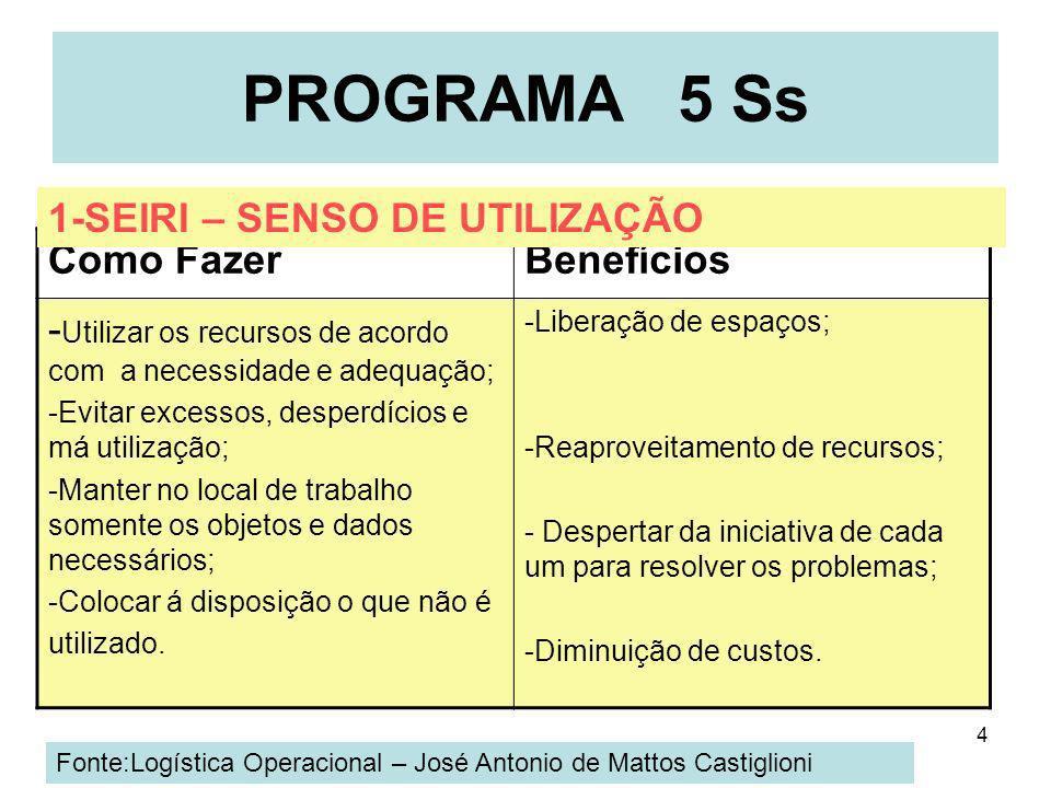 4 PROGRAMA 5 Ss Como FazerBenefícios - Utilizar os recursos de acordo com a necessidade e adequação; -Evitar excessos, desperdícios e má utilização; -