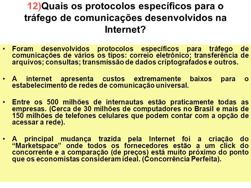 40 Foram desenvolvidos protocolos específicos para tráfego de comunicações de vários os tipos: correio eletrônico; transferência de arquivos; consulta