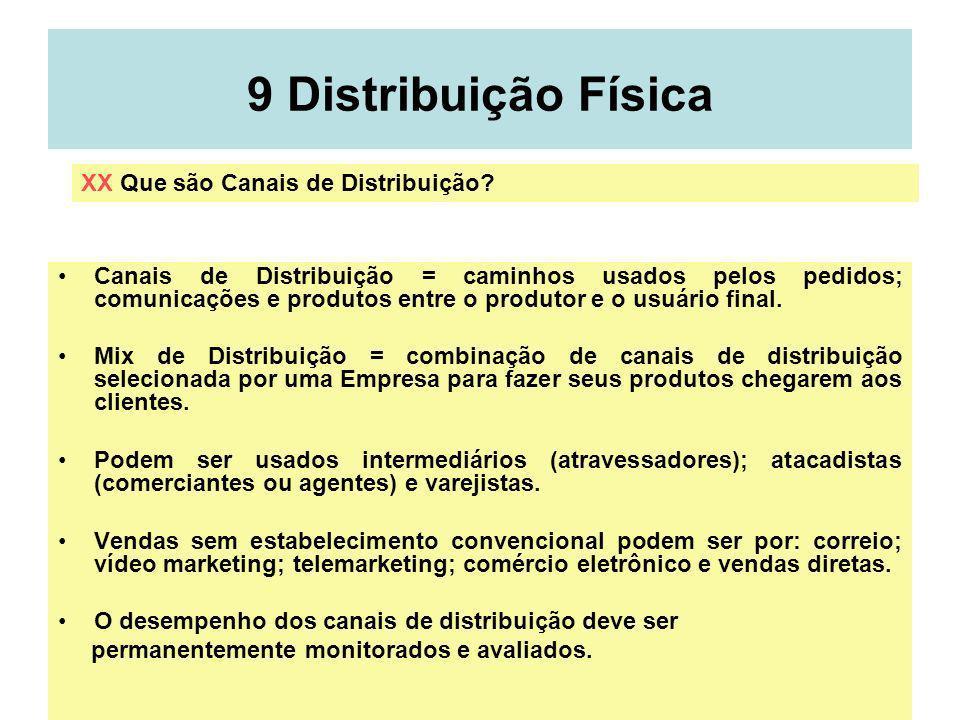 58 9 Distribuição Física Canais de Distribuição = caminhos usados pelos pedidos; comunicações e produtos entre o produtor e o usuário final. Mix de Di