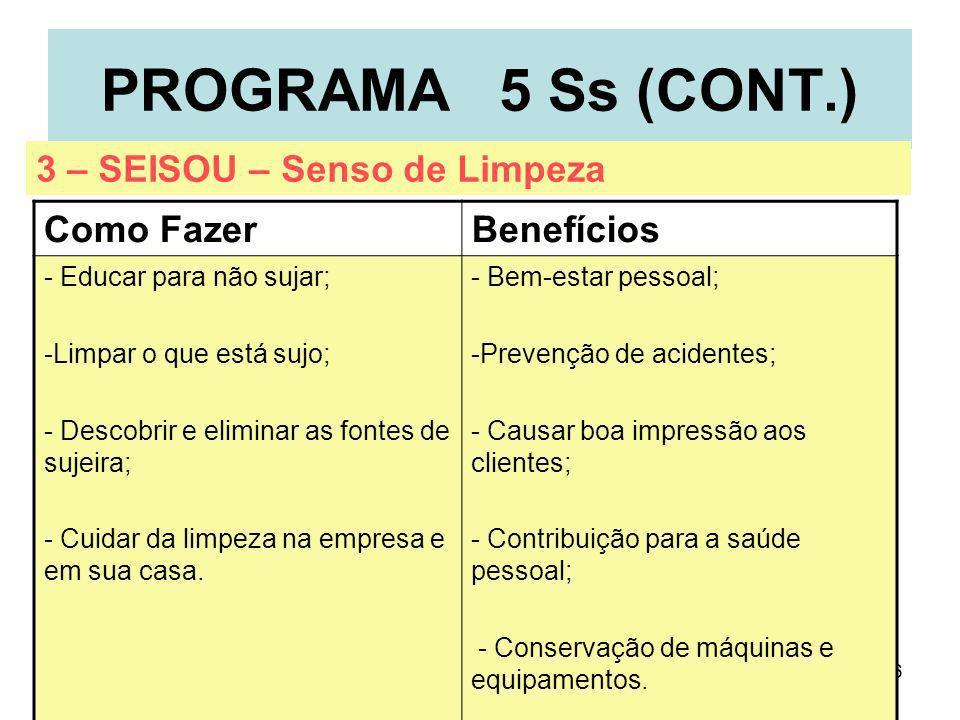 6 PROGRAMA 5 Ss (CONT.) Como FazerBenefícios - Educar para não sujar; -Limpar o que está sujo; - Descobrir e eliminar as fontes de sujeira; - Cuidar d
