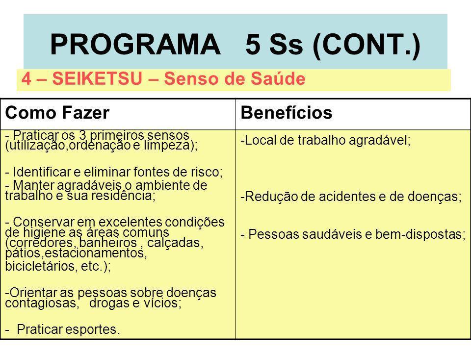 7 PROGRAMA 5 Ss (CONT.) Como FazerBenefícios - Praticar os 3 primeiros sensos (utilização,ordenação e limpeza); - Identificar e eliminar fontes de ris