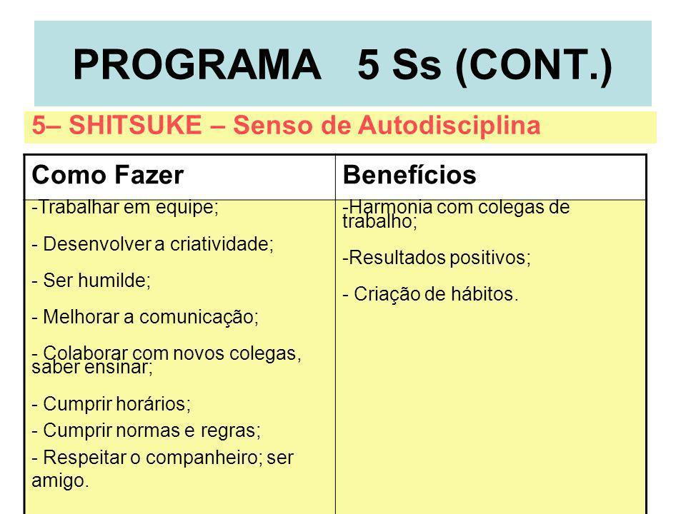 8 PROGRAMA 5 Ss (CONT.) Como FazerBenefícios -Trabalhar em equipe; - Desenvolver a criatividade; - Ser humilde; - Melhorar a comunicação; - Colaborar