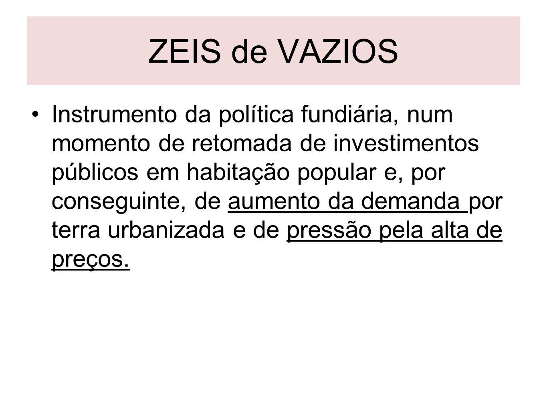 ZEIS de VAZIOS Instrumento da política fundiária, num momento de retomada de investimentos públicos em habitação popular e, por conseguinte, de aument