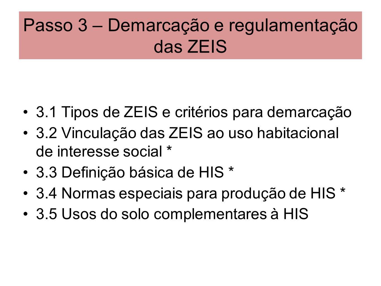 Passo 3 – Demarcação e regulamentação das ZEIS 3.1 Tipos de ZEIS e critérios para demarcação 3.2 Vinculação das ZEIS ao uso habitacional de interesse
