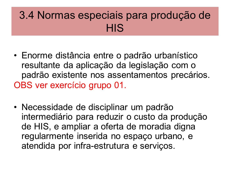 3.4 Normas especiais para produção de HIS Enorme distância entre o padrão urbanístico resultante da aplicação da legislação com o padrão existente nos