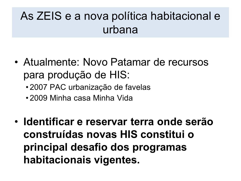 Atualmente: Novo Patamar de recursos para produção de HIS: 2007 PAC urbanização de favelas 2009 Minha casa Minha Vida Identificar e reservar terra ond