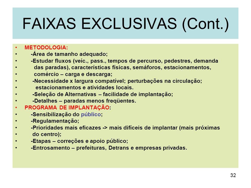 32 FAIXAS EXCLUSIVAS (Cont.) METODOLOGIA: -Área de tamanho adequado; -Estudar fluxos (veíc., pass., tempos de percurso, pedestres, demanda das paradas