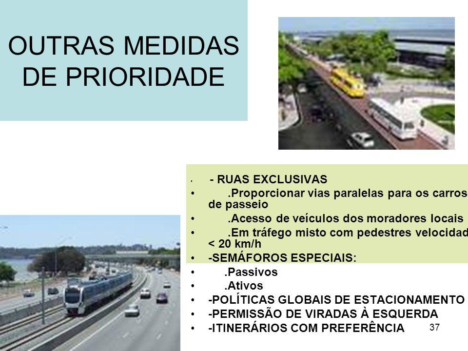 37 OUTRAS MEDIDAS DE PRIORIDADE - RUAS EXCLUSIVAS.Proporcionar vias paralelas para os carros de passeio.Acesso de veículos dos moradores locais.Em trá