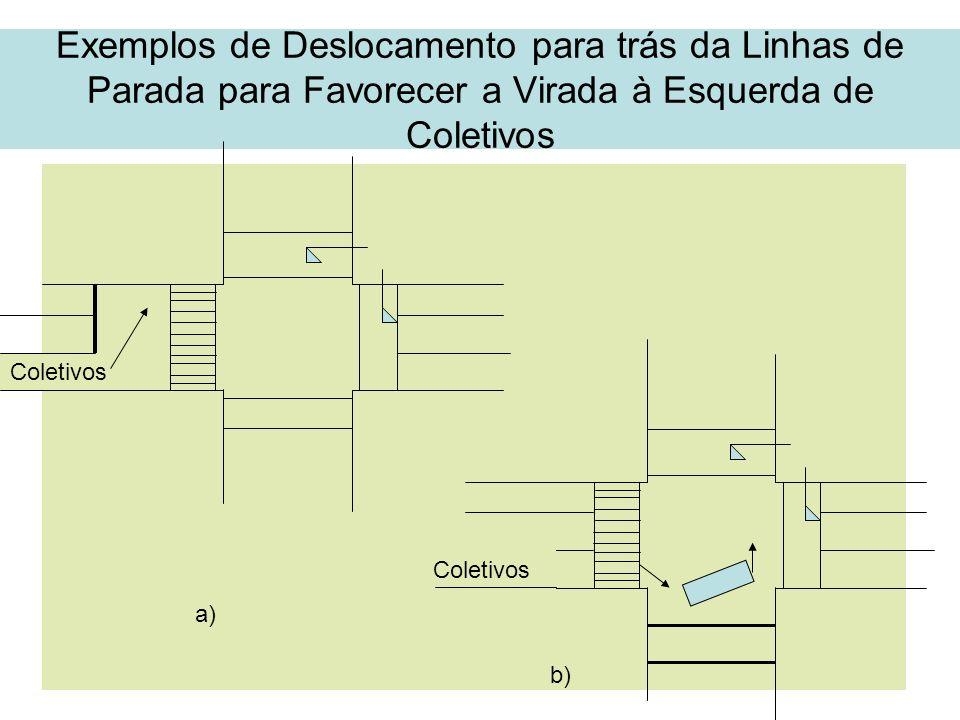 39 Exemplos de Deslocamento para trás da Linhas de Parada para Favorecer a Virada à Esquerda de Coletivos Coletivos a) b)