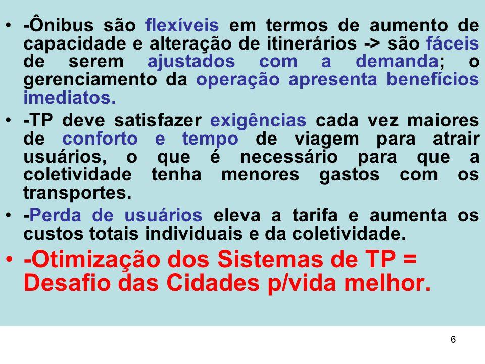 6 -Ônibus são flexíveis em termos de aumento de capacidade e alteração de itinerários -> são fáceis de serem ajustados com a demanda; o gerenciamento