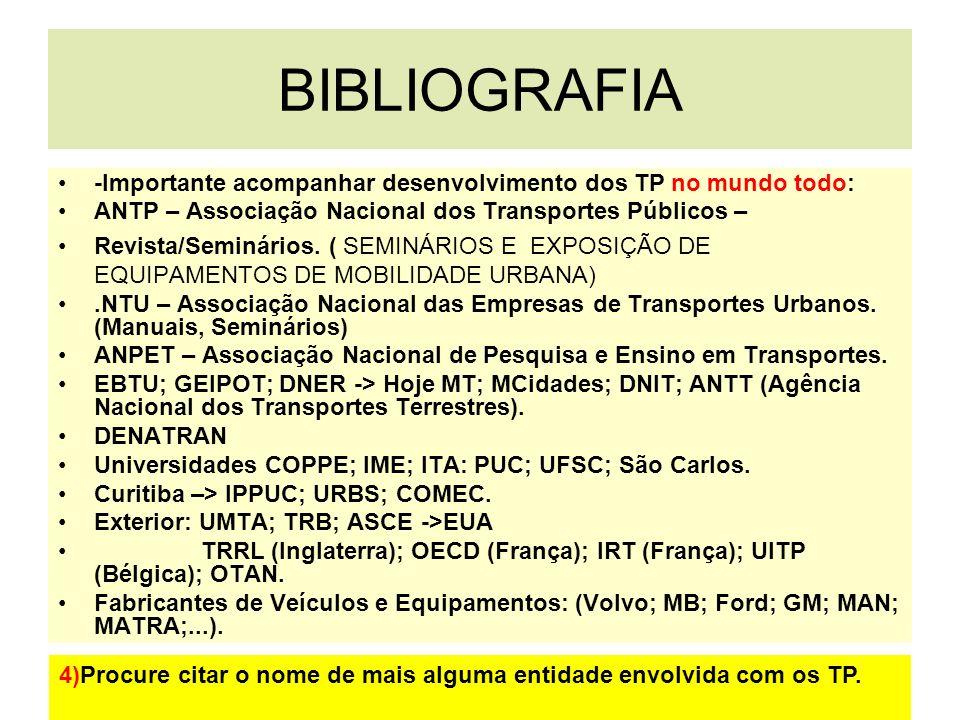 BIBLIOGRAFIA -Importante acompanhar desenvolvimento dos TP no mundo todo: ANTP – Associação Nacional dos Transportes Públicos – Revista/Seminários. (