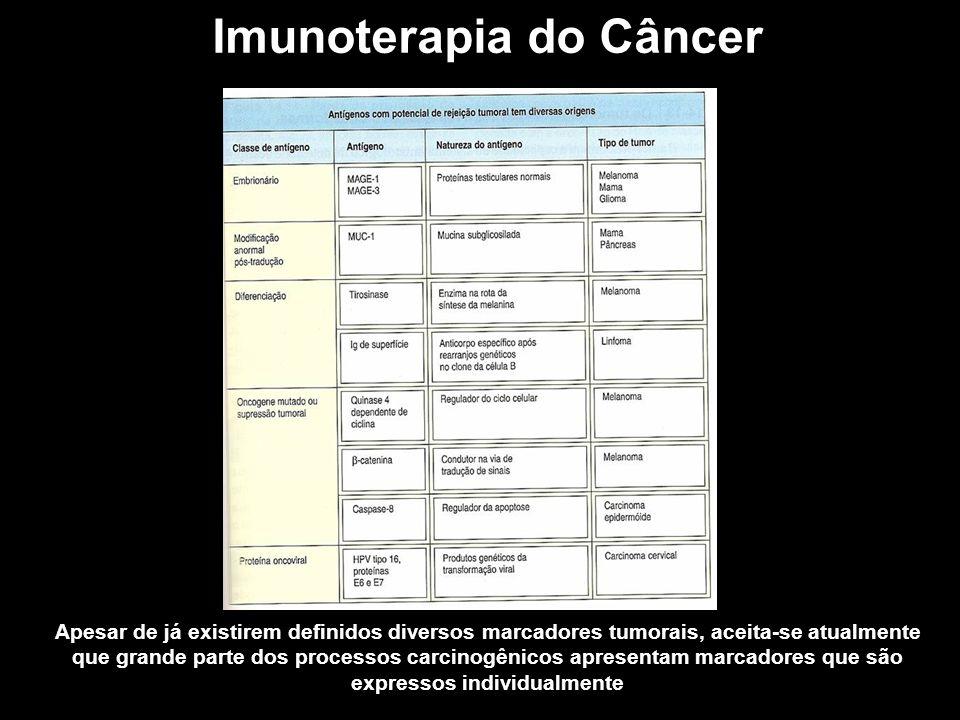 Imunoterapia do Câncer Apesar de já existirem definidos diversos marcadores tumorais, aceita-se atualmente que grande parte dos processos carcinogênic