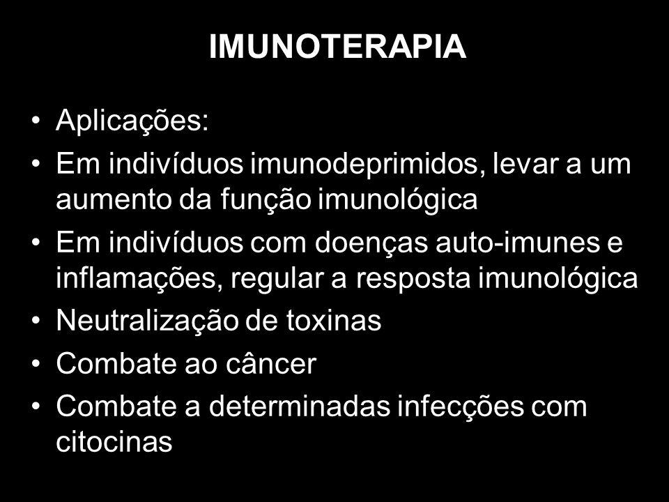 IMUNOTERAPIA Aplicações: Em indivíduos imunodeprimidos, levar a um aumento da função imunológica Em indivíduos com doenças auto-imunes e inflamações,