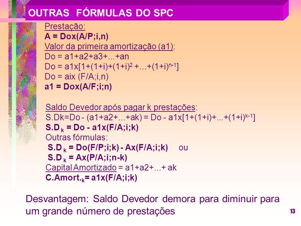13 Prestação: A = Dox(A/P;i,n) Valor da primeira amortização (a1): Do = a1+a2+a3+...+an Do = a1x[1+(1+i)+(1+i) 2 +...+(1+i) n-1 ] Do = aix (F/A;i,n) a1 = Dox(A/F;i;n) Saldo Devedor após pagar k prestações: S.Dk=Do - (a1+a2+...+ak) = Do - a1x[1+(1+i)+...+(1+i) k-1 ] S.D k = Do - a1x(F/A;i;k) Outras fórmulas: S.D k = Do(F/P;i;k) - Ax(F/A;i;k) ou S.D k = Ax(P/A;i;n-k) Capital Amortizado = a1+a2+...+ ak C.Amort.