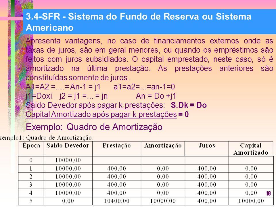 18 3.4-SFR - Sistema do Fundo de Reserva ou Sistema Americano Apresenta vantagens, no caso de financiamentos externos onde as taxas de juros, são em geral menores, ou quando os empréstimos são feitos com juros subsidiados.