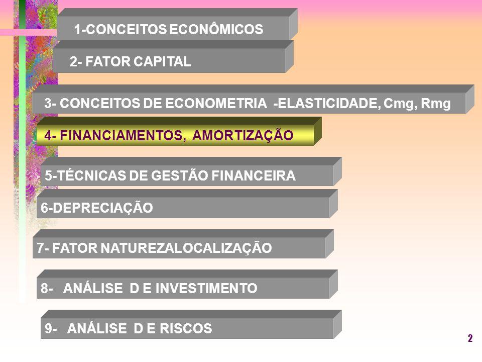 2 1-CONCEITOS ECONÔMICOS 2- FATOR CAPITAL 3- CONCEITOS DE ECONOMETRIA -ELASTICIDADE, Cmg, Rmg 4- FINANCIAMENTOS, AMORTIZAÇÃO 5-TÉCNICAS DE GESTÃO FINANCEIRA 6-DEPRECIAÇÃO 7- FATOR NATUREZALOCALIZAÇÃO 8- ANÁLISE D E INVESTIMENTO 9- ANÁLISE D E RISCOS