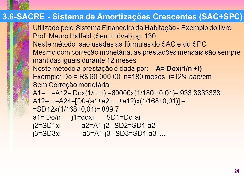 24 3.6-SACRE - Sistema de Amortizações Crescentes (SAC+SPC) Utilizado pelo Sistema Financeiro da Habitação - Exemplo do livro Prof.