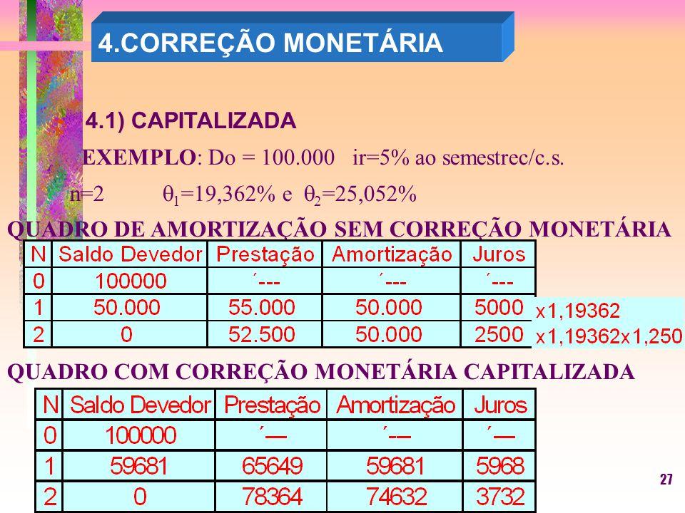 27 4.CORREÇÃO MONETÁRIA 4.1) CAPITALIZADA EXEMPLO: Do = 100.000 ir=5% ao semestrec/c.s.