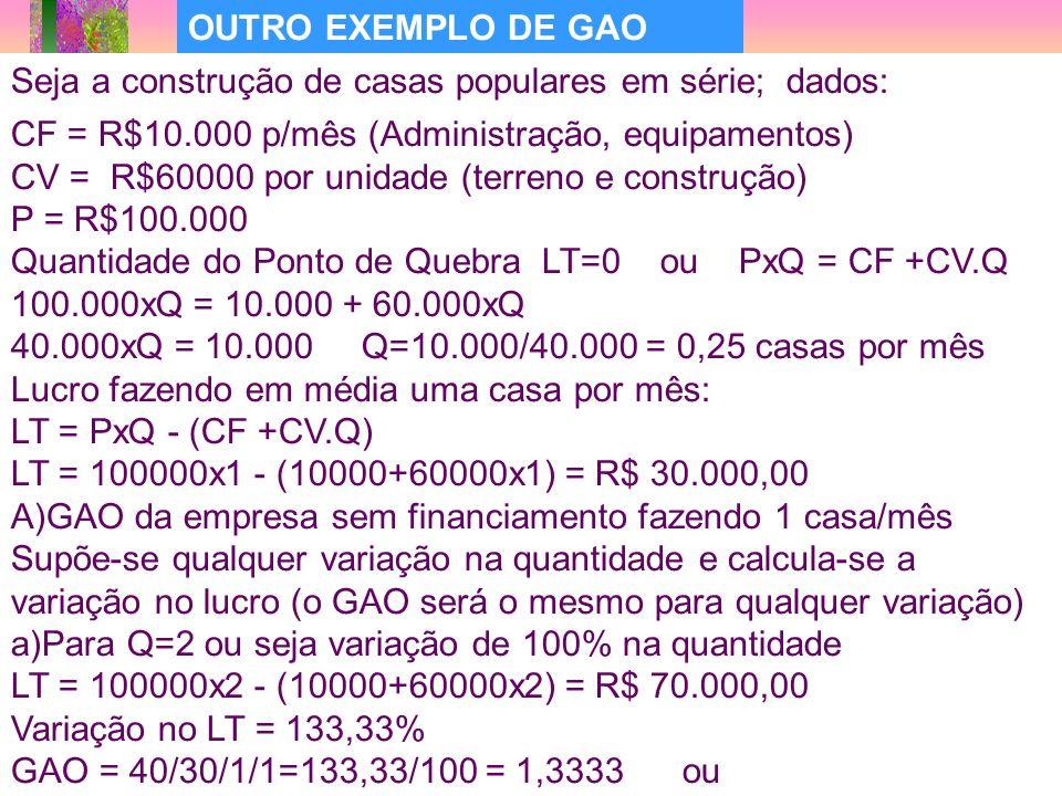 35 OUTRO EXEMPLO DE GAO CF = R$10.000 p/mês (Administração, equipamentos) CV = R$60000 por unidade (terreno e construção) P = R$100.000 Quantidade do Ponto de Quebra LT=0 ou PxQ = CF +CV.Q 100.000xQ = 10.000 + 60.000xQ 40.000xQ = 10.000 Q=10.000/40.000 = 0,25 casas por mês Lucro fazendo em média uma casa por mês: LT = PxQ - (CF +CV.Q) LT = 100000x1 - (10000+60000x1) = R$ 30.000,00 A)GAO da empresa sem financiamento fazendo 1 casa/mês Supõe-se qualquer variação na quantidade e calcula-se a variação no lucro (o GAO será o mesmo para qualquer variação) a)Para Q=2 ou seja variação de 100% na quantidade LT = 100000x2 - (10000+60000x2) = R$ 70.000,00 Variação no LT = 133,33% GAO = 40/30/1/1=133,33/100 = 1,3333 ou Seja a construção de casas populares em série; dados: