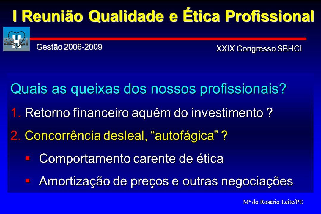 Quais as queixas dos nossos profissionais? 1.Retorno financeiro aquém do investimento ? 2.Concorrência desleal, autofágica ? Comportamento carente de