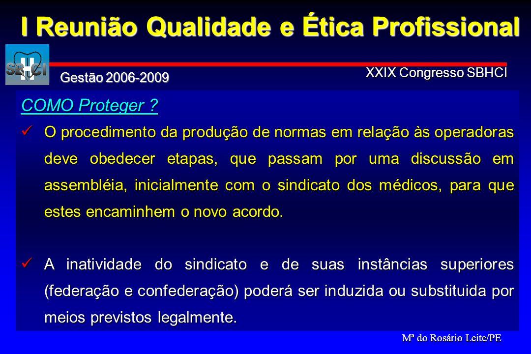 Gestão 2006-2009 XXIX Congresso SBHCI Com a intenção também de proteção, preservação de qualidade e defesa do profissional, surge a idéia do SELO.