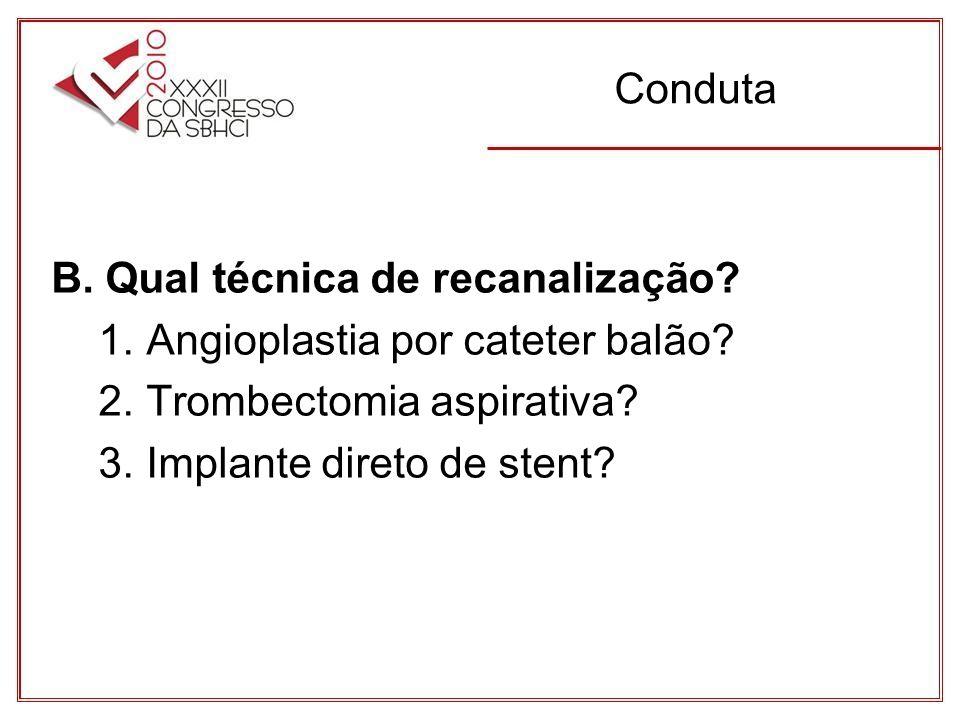 Conduta B.Qual técnica de recanalização. 1. Angioplastia por cateter balão.