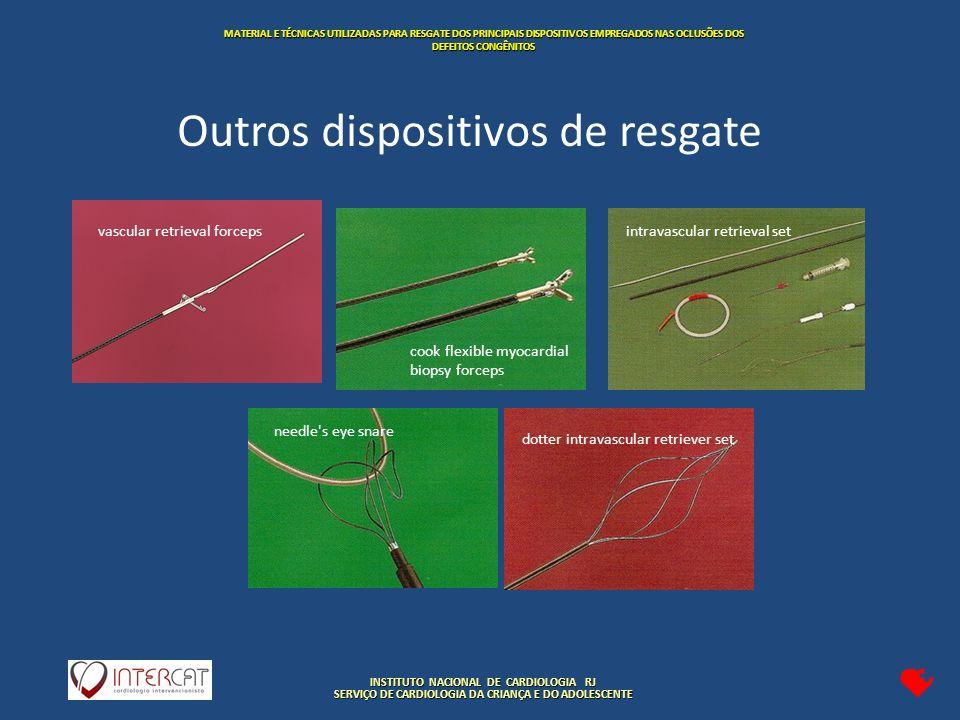 INSTITUTO NACIONAL DE CARDIOLOGIA RJ SERVIÇO DE CARDIOLOGIA DA CRIANÇA E DO ADOLESCENTE MATERIAL E TÉCNICAS UTILIZADAS PARA RESGATE DOS PRINCIPAIS DISPOSITIVOS EMPREGADOS NAS OCLUSÕES DOS DEFEITOS CONGÊNITOS cook flexible myocardial biopsy forceps needle s eye snare intravascular retrieval setvascular retrieval forceps dotter intravascular retriever set Outros dispositivos de resgate