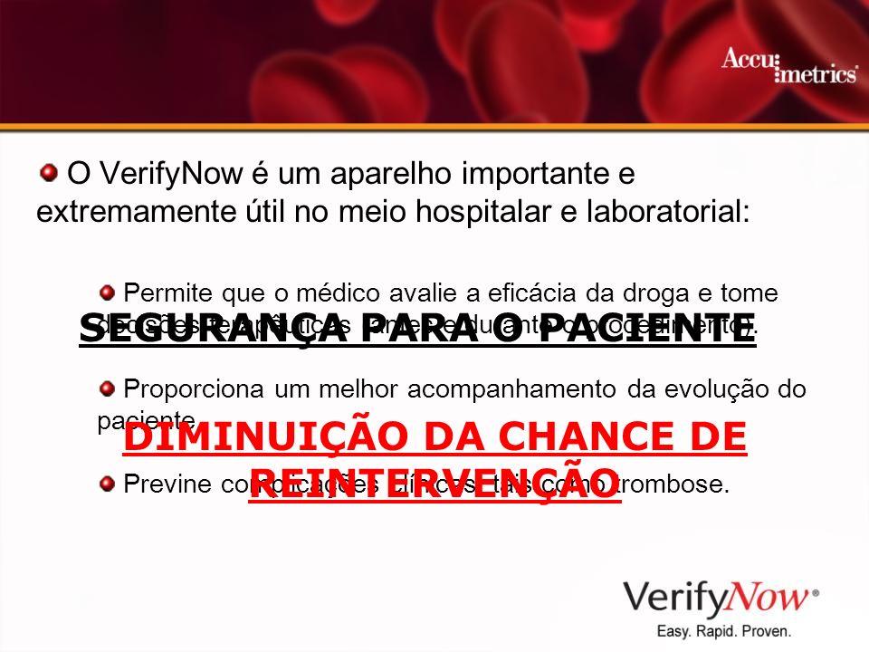 O VerifyNow é um aparelho importante e extremamente útil no meio hospitalar e laboratorial: Permite que o médico avalie a eficácia da droga e tome dec