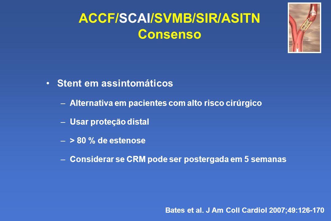 ACCF/SCAI/SVMB/SIR/ASITN Consenso Bates et al. J Am Coll Cardiol 2007;49:126-170 Stent em assintomáticos –Alternativa em pacientes com alto risco cirú