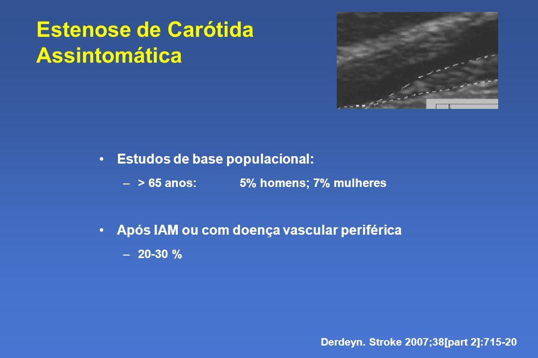 Estenose de Carótida Assintomática Estudos de base populacional: –> 65 anos: 5% homens; 7% mulheres Após IAM ou com doença vascular periférica –20-30