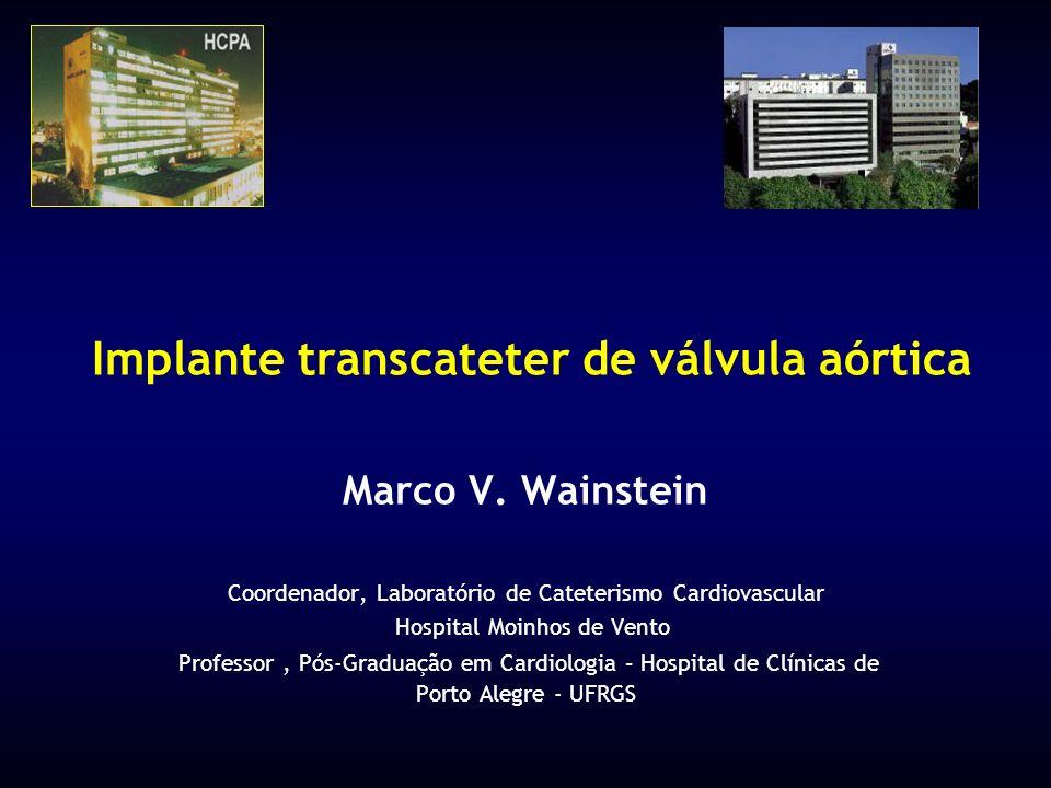 Implante transcateter de válvula aórtica Marco V. Wainstein Coordenador, Laboratório de Cateterismo Cardiovascular Hospital Moinhos de Vento Professor
