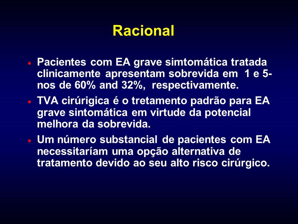 Racional Pacientes com EA grave simtomática tratada clinicamente apresentam sobrevida em 1 e 5- nos de 60% and 32%, respectivamente. TVA cirúrigica é