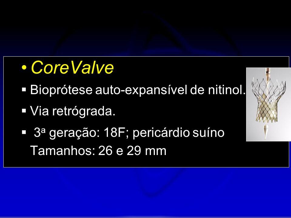 CoreValve Bioprótese auto-expansível de nitinol. Via retrógrada. 3 a geração: 18F; pericárdio suíno Tamanhos: 26 e 29 mm