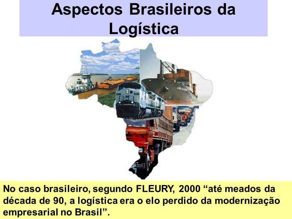 Aspectos Brasileiros da Logística No caso brasileiro, segundo FLEURY, 2000 até meados da década de 90, a logística era o elo perdido da modernização e
