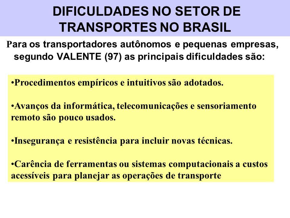 DIFICULDADES NO SETOR DE TRANSPORTES NO BRASIL P ara os transportadores autônomos e pequenas empresas, segundo VALENTE (97) as principais dificuldades