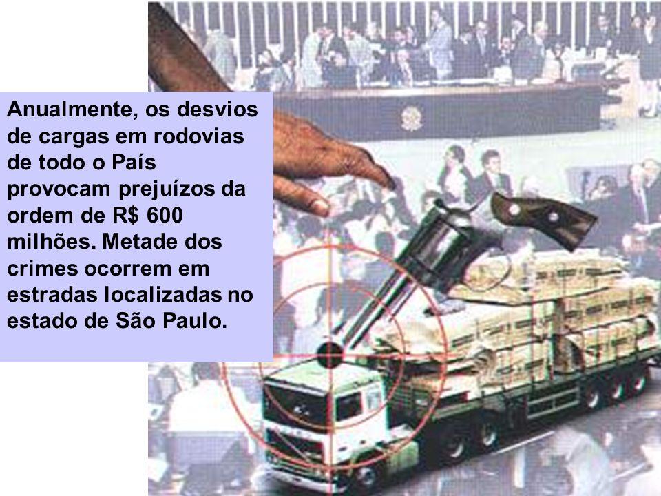 Anualmente, os desvios de cargas em rodovias de todo o País provocam prejuízos da ordem de R$ 600 milhões. Metade dos crimes ocorrem em estradas local