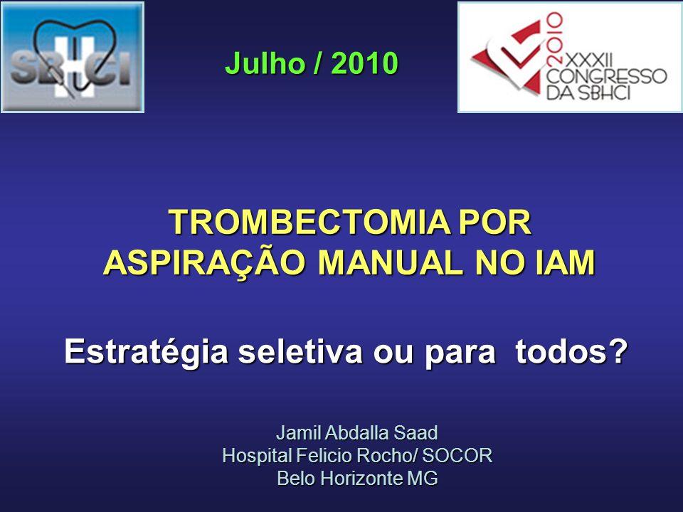 Standard PCI (n = 87) Thrombectomy Plus PCI (n = 88) P Value Post-Stent Myocardial Blush Grade 2 a 59.8%88.6%< 0.0001 90-Minute ST- Segment Resolution a 39.1%63.6%0.001 9-Month Cardiac Death 4.6%0%0.02 EXPIRA – resultados pós procedimento e 9 meses Sardella et al.