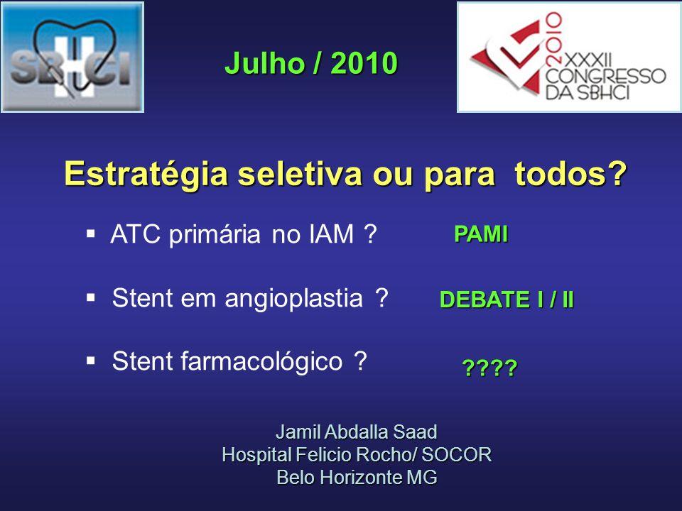 Standard PCI (n = 87) Thrombectomy Plus PCI (n = 88) P Value Cardiac Death 6.8%0%0.0001 Reinfarction 1.1%0%0.999 TVR 5.7%4.5%0.651 MACE 13.6%4.5%0.050 EXPIRA – eventos adversos aos 2 anos Sardella et al.