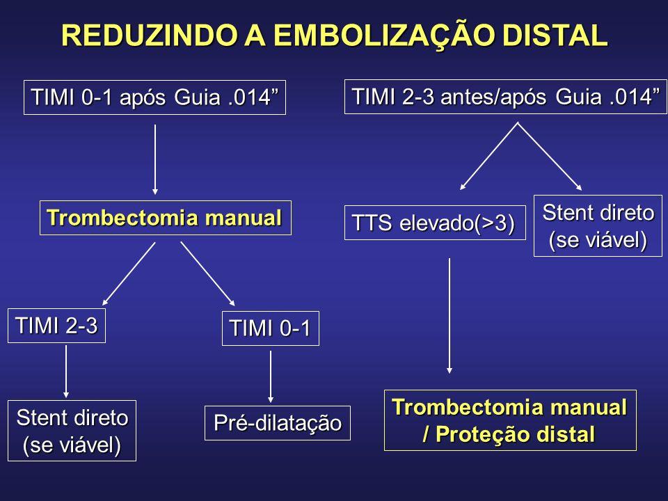 TIMI 0-1 após Guia.014 Trombectomia manual TIMI 2-3 TIMI 0-1 Stent direto (se viável) Pré-dilatação TIMI 2-3 antes/após Guia.014 TTS elevado(>3) Stent direto (se viável) Trombectomia manual / Proteção distal REDUZINDO A EMBOLIZAÇÃO DISTAL