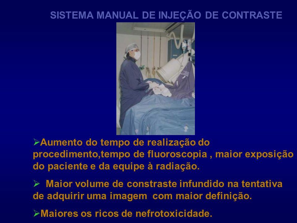 SISTEMA MANUAL DE INJEÇÃO DE CONTRASTE Aumento do tempo de realização do procedimento,tempo de fluoroscopia, maior exposição do paciente e da equipe à