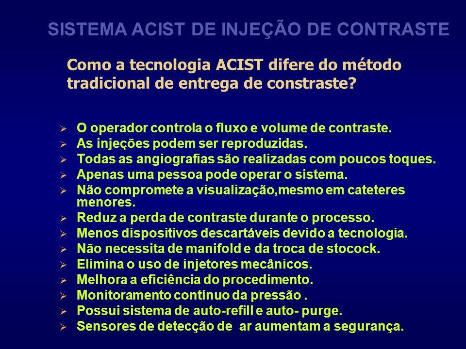 Como a tecnologia ACIST difere do método tradicional de entrega de constraste? O operador controla o fluxo e volume de contraste. As injeções podem se