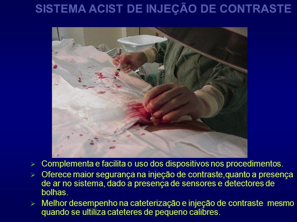 Complementa e facilita o uso dos dispositivos nos procedimentos. Oferece maior segurança na injeção de contraste,quanto a presença de ar no sistema, d